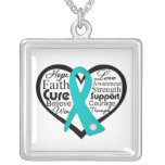 Ovarian Cancer Heart Ribbon Collage Personalized Necklace
