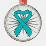 Ovarian Cancer Heart Ribbon Ornaments