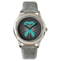 Ovarian Cancer Heart Ribbon Watch