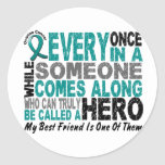 Ovarian Cancer Hero Comes Along BEST FRIEND Round Stickers