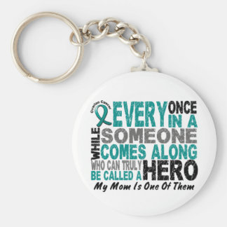 Ovarian Cancer Hero Comes Along MOM Keychain