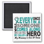 Ovarian Cancer Hero Comes Along MOMMY 2 Inch Square Magnet