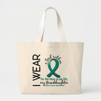Ovarian Cancer Hero In My Life Granddaughter 4 Large Tote Bag