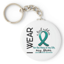Ovarian Cancer Hero In My Life Mom 4 Keychain