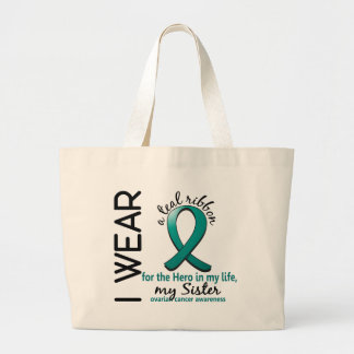 Ovarian Cancer Hero In My Life Sister 4 Large Tote Bag