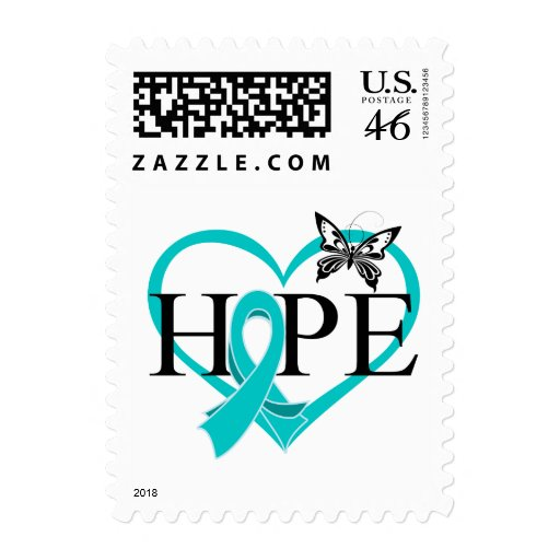 Ovarian Cancer Hope Butterfly Heart Postage