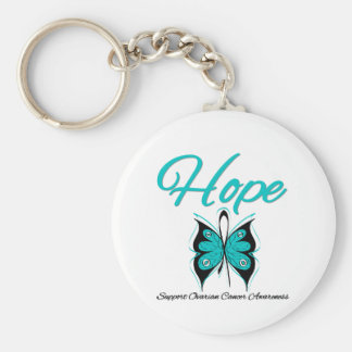 Ovarian Cancer Hope Butterfly Ribbon Basic Round Button Keychain