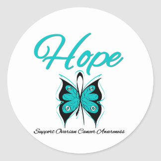 Ovarian Cancer Hope Butterfly Ribbon Round Sticker