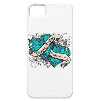 Ovarian Cancer Hope Faith Dual Hearts iPhone SE/5/5s Case