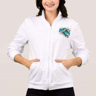 Ovarian Cancer Hope Faith Dual Hearts Printed Jacket