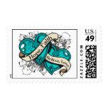 Ovarian Cancer Hope Faith Dual Hearts Stamp