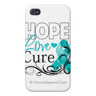Ovarian Cancer Hope Love Cure iPhone 4/4S Covers