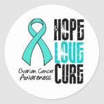 Ovarian Cancer Hope Love Cure Ribbon Classic Round Sticker
