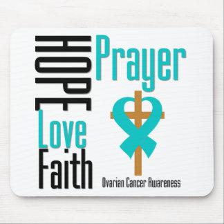 Ovarian Cancer Hope Love Faith Prayer Cross Mouse Pad
