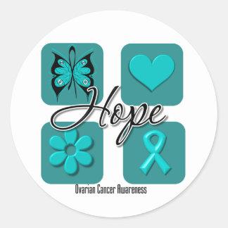 Ovarian Cancer Hope Love Inspire Awareness Classic Round Sticker