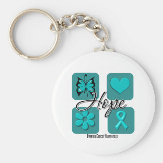 Ovarian Cancer Hope Love Inspire Awareness Basic Round Button Keychain
