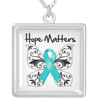 Ovarian Cancer Hope Matters Square Pendant Necklace