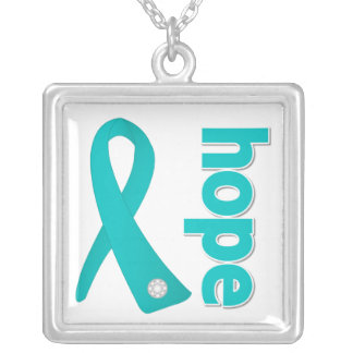 Ovarian Cancer Hope Teal Ribbon Square Pendant Necklace