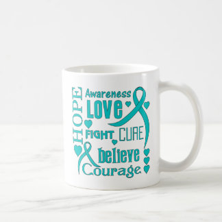 Ovarian Cancer Hope Words Collage Coffee Mugs
