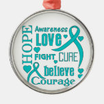 Ovarian Cancer Hope Words Collage Christmas Tree Ornaments