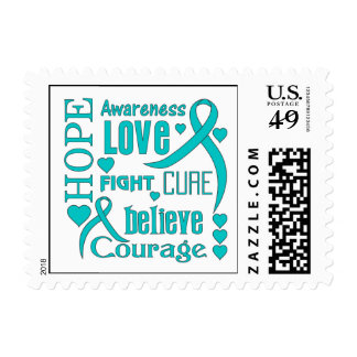 Ovarian Cancer Hope Words Collage Stamp