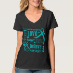 Ovarian Cancer Hope Words Collage Tee Shirt