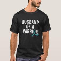 Ovarian Cancer Husband Teal Ribbon Cancer Awarenes T-Shirt