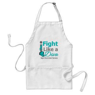 Ovarian Cancer I Fight Like a Diva Adult Apron