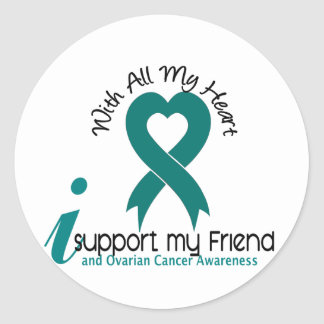 Ovarian Cancer I Support My Friend Classic Round Sticker