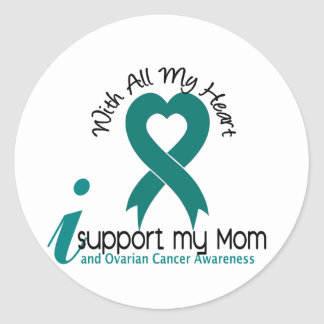 Ovarian Cancer I Support My Mom Classic Round Sticker