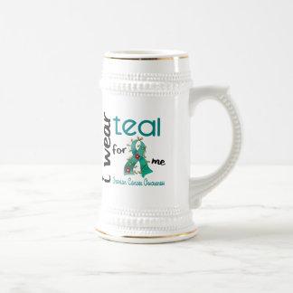 Ovarian Cancer I WEAR TEAL FOR ME 43 Beer Stein