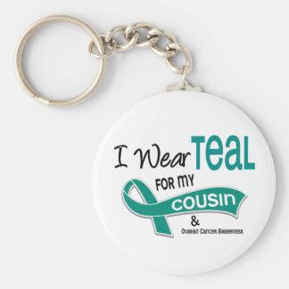 Ovarian Cancer I WEAR TEAL FOR MY COUSIN 42 Keychain