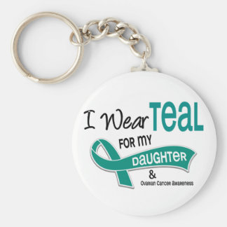 Ovarian Cancer I WEAR TEAL FOR MY DAUGHTER 42 Keychain