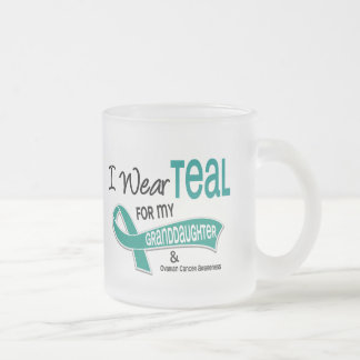 Ovarian Cancer I WEAR TEAL FOR MY GRANDDAUGHTER 42 Frosted Glass Coffee Mug