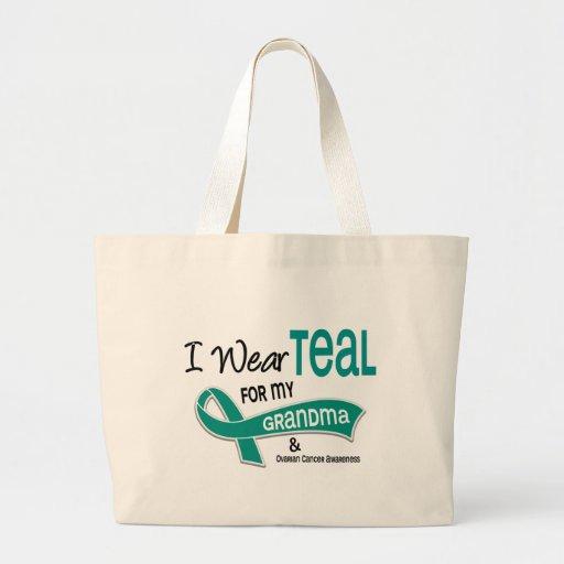 Ovarian Cancer I WEAR TEAL FOR MY GRANDMA 42 Canvas Bags