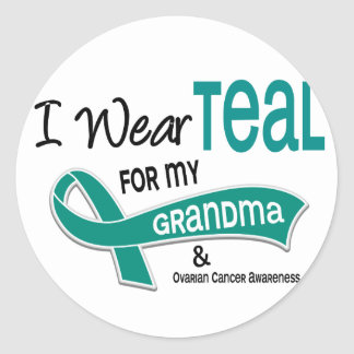 Ovarian Cancer I WEAR TEAL FOR MY GRANDMA 42 Classic Round Sticker