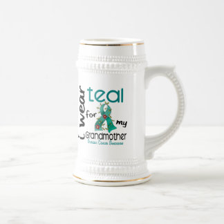 Ovarian Cancer I WEAR TEAL FOR MY GRANDMOTHER 43 Beer Stein