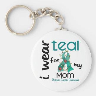Ovarian Cancer I WEAR TEAL FOR MY MOM 43 Keychain