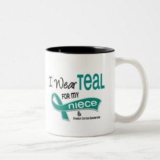 Ovarian Cancer I WEAR TEAL FOR MY NIECE 42 Two-Tone Coffee Mug