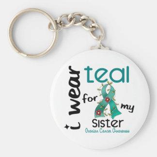Ovarian Cancer I WEAR TEAL FOR MY SISTER 43 Keychain