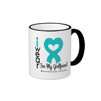 Ovarian Cancer I Wear Teal Heart For My Girlfriend Mugs