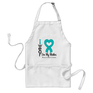 Ovarian Cancer I Wear Teal Heart For My Mother Adult Apron