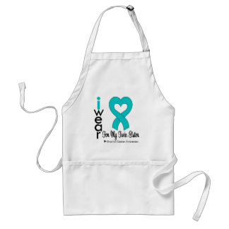 Ovarian Cancer I Wear Teal Heart For Twin Sister Adult Apron