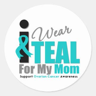 Ovarian Cancer I Wear Teal Ribbon Mom Round Sticker
