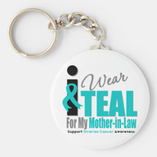 Ovarian Cancer I Wear Teal Ribbon Mother-in-Law Keychains