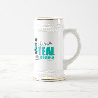 Ovarian Cancer I Wear Teal Ribbon Mother-in-Law Coffee Mugs