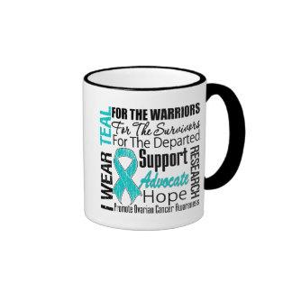 Ovarian Cancer I Wear Teal Ribbon TRIBUTE Ringer Coffee Mug