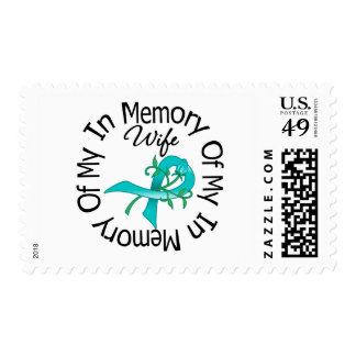 Ovarian Cancer In Memory of My Wife Flower Ribbon Postage Stamp