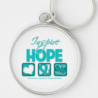 Ovarian Cancer Inspire Hope Silver-Colored Round Keychain