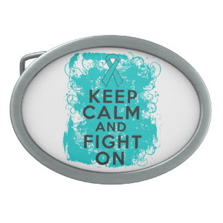 Ovarian Cancer Keep Calm and Fight On Oval Belt Buckles
